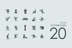 Set of snowboard icons Royalty Free Stock Photography