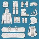 Set snowboard wyposażenie Zdjęcia Royalty Free