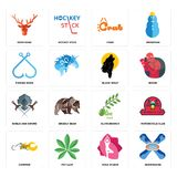 Set of snowboard, yoga studio, chopper, olive branch, shield and sword, black wolf, fishing hook, crab, deer head icons. Set Of 16 simple  icons such as Royalty Free Stock Photo