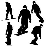 Set  snowboarders silhouettes. Royalty Free Stock Photography