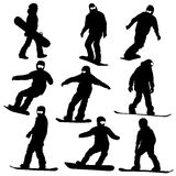 Set  snowboarders silhouettes. Stock Photography