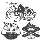 Set of snowboarding emblems, labels and designed elements. Royalty Free Stock Photo