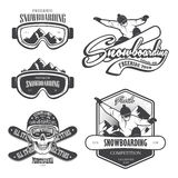 Set of snowboarding emblems. Labels and designed elements. Extreme theme, winter games, outdoors adventure. Set 2 Stock Photos