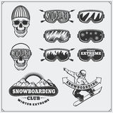Set of Snowboarding extreme labels, emblems, badges and design elements. Vintage mountain adventure symbols. Royalty Free Stock Image