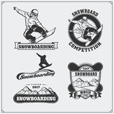 Set of Snowboarding extreme labels, emblems, badges and design elements. Vintage mountain adventure symbols. Black and white royalty free illustration
