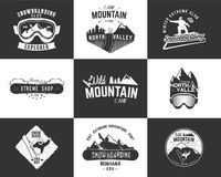 Set of Snowboarding extreme logo and label templates. Winter snowboard sport store badges, emblems. Mountain Adventure Stock Images