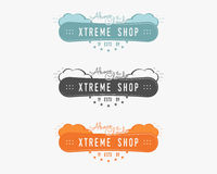 Set of Snowboarding extreme shop logo, label templates Winter snowboard sport store badge. Emblem and icon. Mountain. Adventure patches. Sports vintage color Royalty Free Stock Images