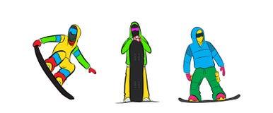 Set of Snowboarding icons. Vintage mountain explorer label. Royalty Free Stock Photos