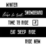 Set of  snowboarding inspirational phrase. Set of different snowboarding inspirational phrase and label templates. Lettering logo, vector illustration, emblem royalty free illustration