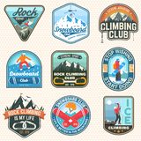 Set of Snowboarding and Rock Climbing club patches. Vector. Concept for patch, shirt, print, stamp. Vintage typography royalty free illustration