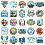 Set of Snowboarding and Rock Climbing club patches. Vector. Concept for patch, shirt, print, stamp. Vintage typography stock illustration