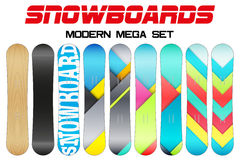 Set of Snowboards sample symbols Stock Images