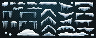 Free Set Snowdrift And Icicle, Snow Cap And Snowball, Royalty Free Stock Photos - 161051458