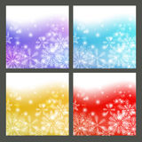 Set of snowflake backgrounds. Set of color snowflake backgrounds Stock Photography