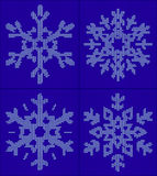 Set of 4 snowflake christmas, new year ornament on blue backgrou. Nd. Knitted vector pattern. Christmas sweater design. Wool knitted texture in white and blue royalty free illustration