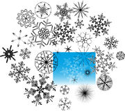 Set of snowflake crystals Royalty Free Stock Image
