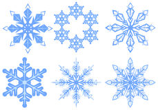 Set Snowflake. Flake of snow. Isolated on white vector illustration Stock Photos