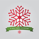 Set of snowflake in flat design and christmas badge. Royalty Free Stock Photo