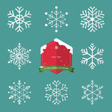 Set of snowflake in flat design and christmas badge. Royalty Free Stock Images