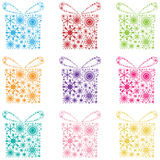 Set snowflake gift Royalty Free Stock Photography