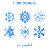 Set of snowflake hand drawn with oil pastels Stock Photo