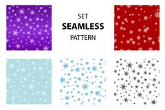 Set snowflake pattern. Big set Seamless snow pattern. Simple vector snowflakes on on different colored backgrounds, blue, red, purple, white. Winter illustration Stock Photo