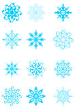 Set of snowflakes. Set of blue snowflakes.   illustration Royalty Free Stock Image