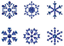 Set of snowflakes. Vector illustration of set of snowflakes in different styles isolated on white Royalty Free Stock Photography