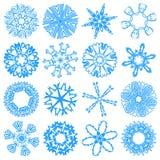 Set snowflakes. Set of simulated snowflakes (16 pieces) - on a white background Royalty Free Stock Photos