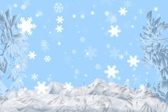 Set snowflakes. Snowflakes falling in a snowdrift (a kind through the frozen glass Royalty Free Illustration