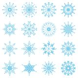 Set with snowflakes. On white background Royalty Free Stock Images