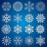 Set of Snowflakes. Detailed vector Isolated Snowflakes, collection for your design Royalty Free Illustration