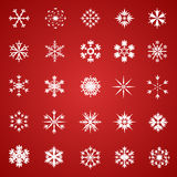 Set of Snowflakes. Collection of 25 various stylish snowflakes Royalty Free Stock Photo