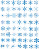 Set of snowflakes. Set of 56 blue snowflakes, vector illustration Stock Images