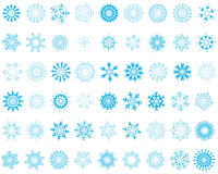Set of snowflakes. Set of different vector snowflakes in blue-white color Royalty Free Stock Photo