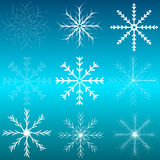 Set of snowflakes. Background Blue Celebration Christmas Cold Element Ice Symbol Image Painting vector illustration