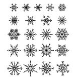 Set of snowflakes. 21 black snowflakes isolated on white background. Can be used for your design Stock Images