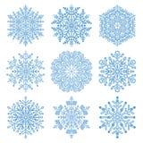 Set of Snowflakes. Set of blue snowflakes. Fine winter ornament. Snowflakes collection Royalty Free Stock Photos