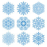 Set of Snowflakes. Set of blue snowflakes. Fine winter ornament. Snowflake collection Royalty Free Stock Photos