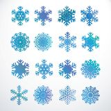Set of snowflakes. Set of blue gloss vector snowflakes for web design vector illustration