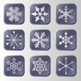 Set of snowflakes buttons. Stock Images