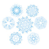 Set of snowflakes. Collection of vector snowflakes on white background royalty free illustration