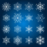 Set of snowflakes. Set of 16 delicate snowflakes Stock Photos