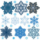 Set of snowflakes with different parameters: beautiful, large, l. Set of winter snowflakes to choose from several options: a beautiful, large, lush, and with Stock Illustration