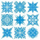 Set of snowflakes. A set of snowflakes with different patterns Royalty Free Stock Photos