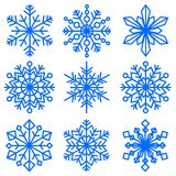 Set of snowflakes of different shapes. Collection of decorative snowflakes images. Vector illustration. Royalty Free Stock Photos