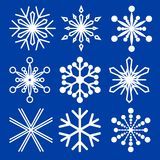Set of snowflakes of different shapes. Collection of decorative snowflakes images. Vector illustration. Royalty Free Stock Photo
