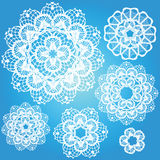 Set of snowflakes doilies. Winter beautiful decoration. Vector illustration Stock Images