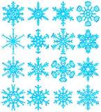 set snowflakes för blue Fotografering för Bildbyråer