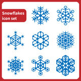 set snowflakes för symbol 16different Arkivfoton
